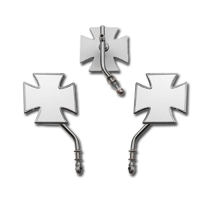 Chrome Maltese Mirrors, Short Stem Mirror, Reversible, für alle Modelle