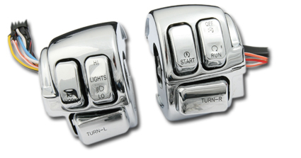Handlebar Control Switches With Housings, chrome switches, Harley 06-13