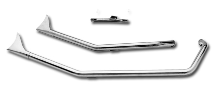 Paughco Upsweep Fishtail Pipes, Fits 00-06 Softail models, Harley