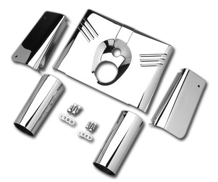 Chrome Fork Tin FL Softail Mod., Chrome tin and slider covers 5-piece kit, Harley