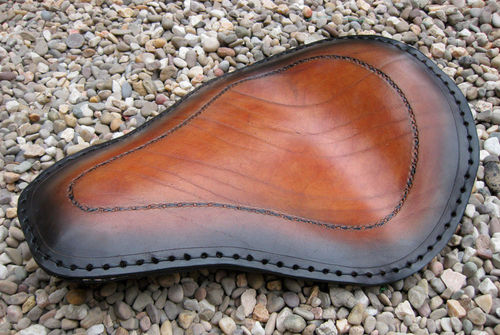 Handmade Leather Soloseat, black brown, Harley Davidson, Chopper, Bobber