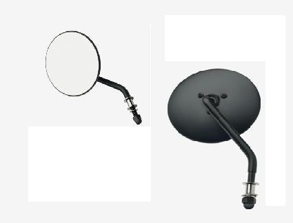 "Late-Style Short Stem 4""-Round Mirrors, black, left, Mod. 65-12, Harley, Chopper"