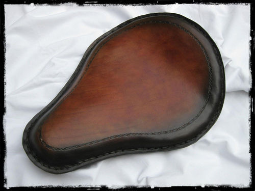 "Handmade Leather Soloseat ""brown-black"", Harley Davidson, Chopper, Bobber"
