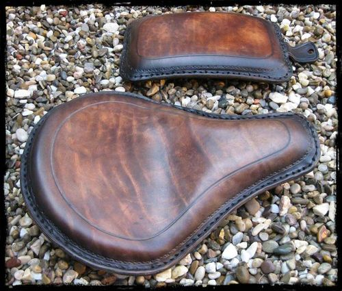 "Handmade Leather Soloseat and P-Pad Set ""black-brown"", Harley Davidson, Chopper, Bobber"