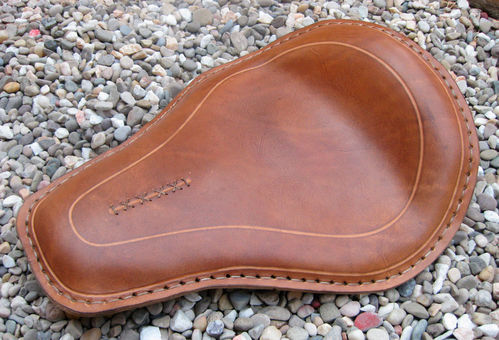 Handmade Leather Soloseat brown, Harley Davidson, Chopper, Bobber