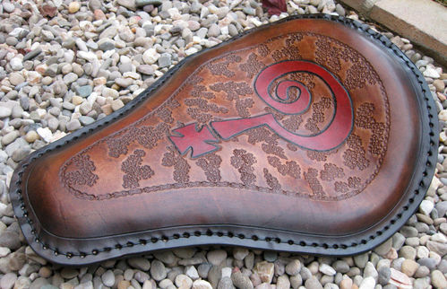 "Handmade Leather Soloseat ""Indian Larry"", Harley Davidson, Chopper, Bobber"