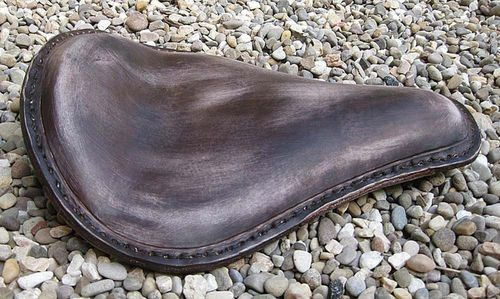 "Handmade Leather Soloseat ""vintage dark-brown"", Harley Davidson, Chopper, Bobber"