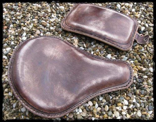 "Handmade Leather Soloseat and P-Pad Set ""vintage-brown"" Harley Davidson, Chopper, Bobber"