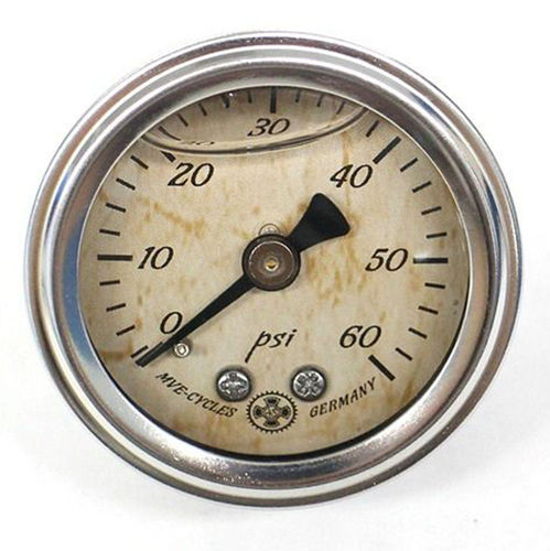 MVE CYCLES Oil Pressure Gauge STAINLESS 60PSI Harley Davidson