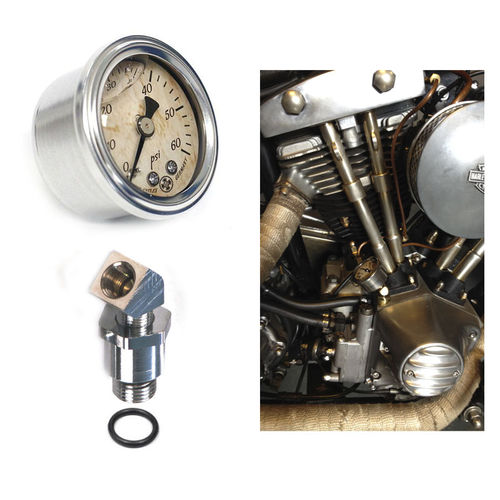 OIL PRESSURE GAUGE with Motor mount Set - Harley Shovelhead and EVO 70-99