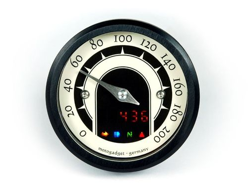 Motogadget Mst Speedster (49 mm analogue speedo)  - Black anodized