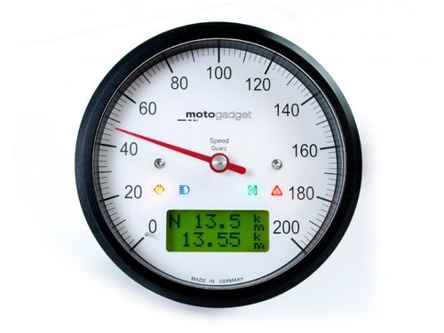 Motogadget Motoscope Classic Speedo, Tacho, Analogtacho, LC-Display, schwarz